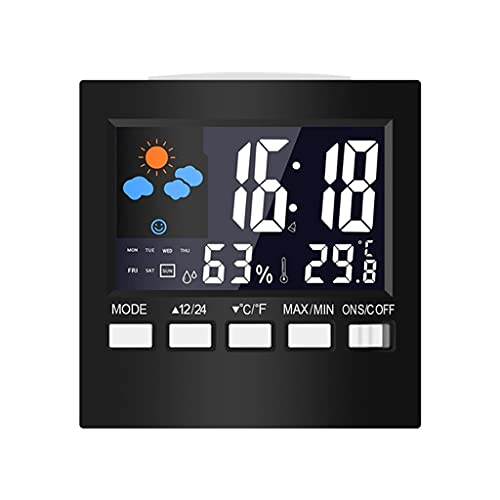 ZNBJJWCP Termómetro Digital LCD Estación meteorológica Reloj y Alarma Calendario Calendario HIGRÓMÉTICO HIGRÓMÉRTE TERMINTRÓMICE Temperatura Meter DE Humedad