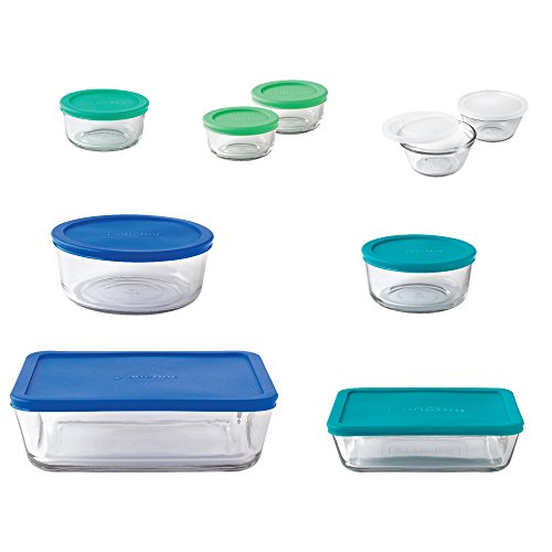 Anchor Hocking 11046AHG17 20-Piece Storage Set with Mixed Blue Lids