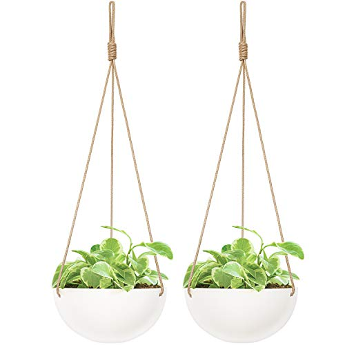 Mkono 9 Inch Ceramic Hanging Planter Indoor Outdoor Modern Round Flower Plant Pot White Porcelain Hanging Basket with Polyester Rope Hanger for Herbs Ferns Ivy Crawling Plants, Set of 2