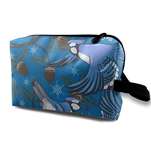 XCNGG Bolsa de almacenamiento de maquillaje de viaje, bolso de aseo portátil, pequeña bolsa organizadora de cosméticos para mujeres y hombres, arrendajos azules y ramas de abeto