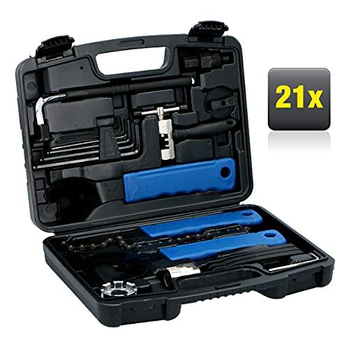 Kinzo Universeller 21 TLG. Fahrrad Werkzeugsatz - Reparatur-Set - in einem praktischen Werkzeugkoffer