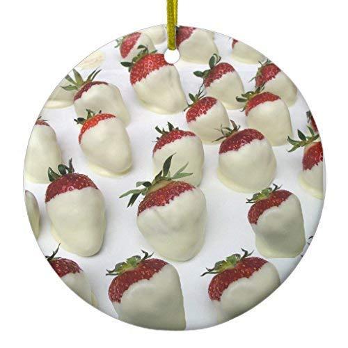 Cukudy aardbeien gedompeld in witte chocolade kerstversiering keramische cirkel 3 inch