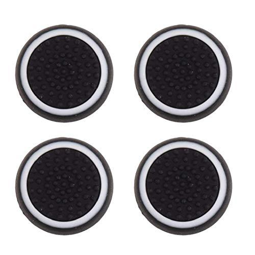 Rrunzfon 4pcs reemplazo de Silicona Cap Joystick Pulgar Grip Protege la Cubierta para PS3 / PS4 / Xbox 360 - Accesorios electrónicos Blanco y Negro de Consumo