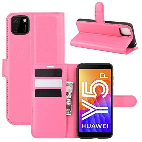 pinlu® PU Leder Tasche Handyhülle Für Huawei Y5P / Honor 9S Smartphone Wallet Hülle Mit Standfunktion & Kartenfach Design Hochwertige Ledertextur Red