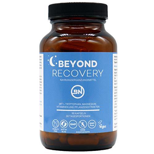 Beyond Recovery natürliche Nährstoffe für eine wohltuende Nacht mit Melatonin-Vorstufe L-Tryptophan, Kamille & Magnesium, 90 Kapseln nachhaltig im Glas, extra stark