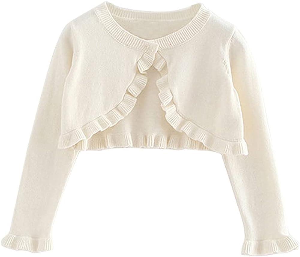 LittleSpring Little Girls Bolero Shrug Cropped Knit Cardigan Sweater Ruffle Cotton One-Button