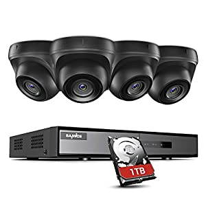 SANNCE 4CH Home CCTV DVR Camera System 1TB HDD, 4x1080P Outdoor Wide Angle Dome Security Cameras, P2P, 1080P EXIR Night Vision, Motion Alert w/Photo