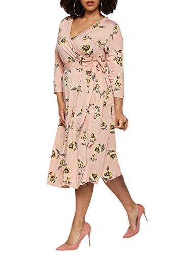 Pink Queen Womens Plus Size Floral Dress 3/4 Sleeve Swing Wrap Dress 3XL Pink