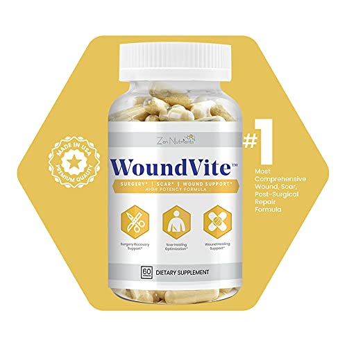 WoundVite - Wound, Scar & Surgery Recovery Support; ACL, Shoulder, Back, Hysterectomy, Tummy Tuck, Breast and Lipo Surgery, Rhinoplasty, Scar Treatment, Wound Care Support, Zen Nutrients-60 Count