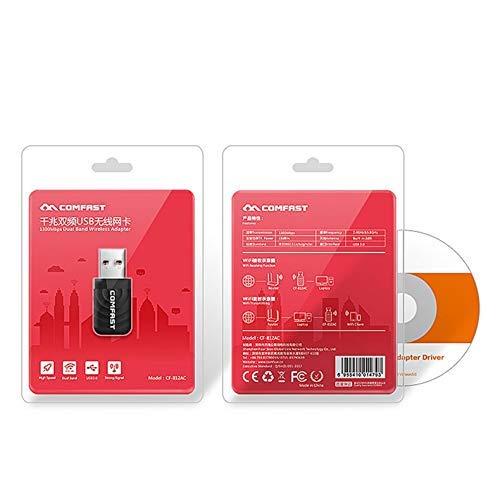 Dual-Band 1300M Gigabit USB Trådlöst nätverkskort WiFi-förlängningskort svart