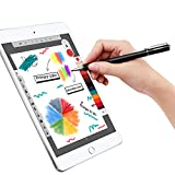 MEKO Universal Stylus,[2 in 1 Precision Series] Disc Stylus Touch Screen Pens for All Capacitive Touch Screens Cell Phones, Tablets, Laptops Bundle with 6 Replacement Tips - (2 Pcs, Black/Black)