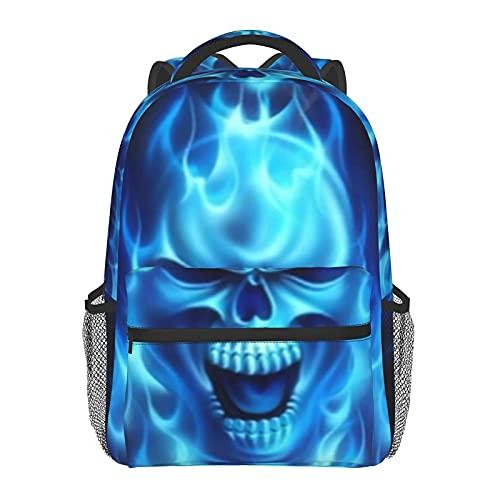 FJJLOVE Zaino Tote Blue Skull Classic Basic Bookbag Borsa da scuola resistente all'acqua Zainetto casual con tasche laterali