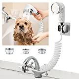 ZCONIEY Sink Faucet Sprayer Attachment, Shower Head Attaches To Tub Faucet, Dog Bathing Hose Shower Set for Laundry Bathroom Kitchen
