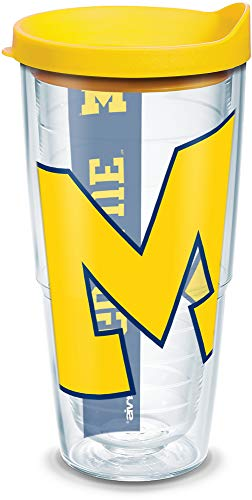 Tervis Michigan Wolverines Colossal Tumbler with Wrap and Yellow Lid 24oz, Clear