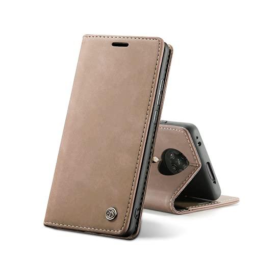 Chocoyi Kompatibel mit Xiaomi Poco F2 Pro/Redmi K30 Pro Hülle Leder,Magnetverschluss Premium PU Leder Flip Hülle,Standfunktion.-Braun