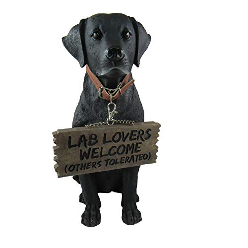 DWK - Bela - Black Labrador Retriever Indoor Outdoor Dog Statue with Reversible Sign Lab Lovers Welcome/Don't Stop Retrievin' Garden Patio Accessory Home Decor Accent, 13-inch