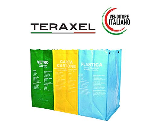 Teraxel Borse Differenziata da Interno Colorati Secchi Spazzatura Contenitori Rifiuti Riciclaggio Carta Vetro Plastica Casa e Cucina Eco Bags