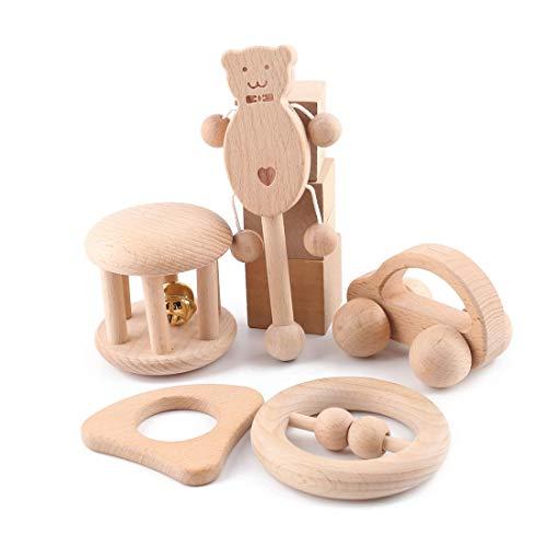 Promise Babe Sonajero para bebé de Madera 5 Piezas Juguete Musical Juguete vibrador con Mango de Madera Cascabeles para bebés y niños pequeños ⭐