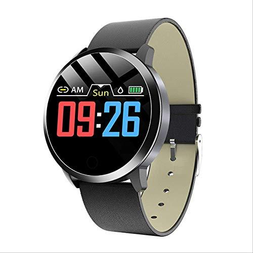 Mode Dames Smart Horloge Waterdicht Hartslag Bloeddrukmeter Smartwatch Cadeau Voor Dameshorloge Armband Leer Zwart Zwart