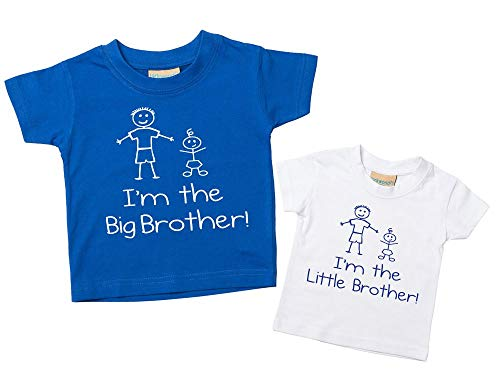 Set de camisetas azul y blanca con las frases I'm The Big Brother y I'm The Little Brother para niño disponible en tallas para bebés de 0 a 6 meses y para niños de 14 a 15 años, regalo para he