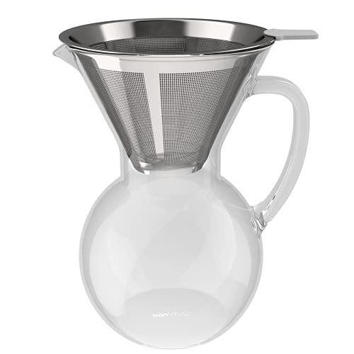 bonVIVO Aldrono Pour Over Kaffeebereiter, Kaffeekanne Mit Permanent Kaffeefilter Aus Edelstahl, Manuelle Kaffeemaschine Mit Glaskanne und Edelstahlfilter, Glas-Karaffe Zum Kaffee Brühen, 0,5 l / 500ml