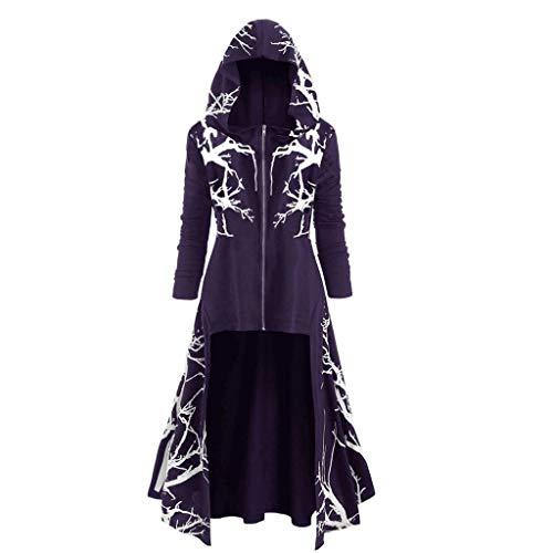 Mymyguoe MYMYG Damen Langarm mit Kapuze Mittelalter Kleid bodenlangen Cosplay Dress Age Mittelalter Kleidung Große Größen Renaissance Kostüm Lang Halloween Kostüm … (Purple, XXXXL)