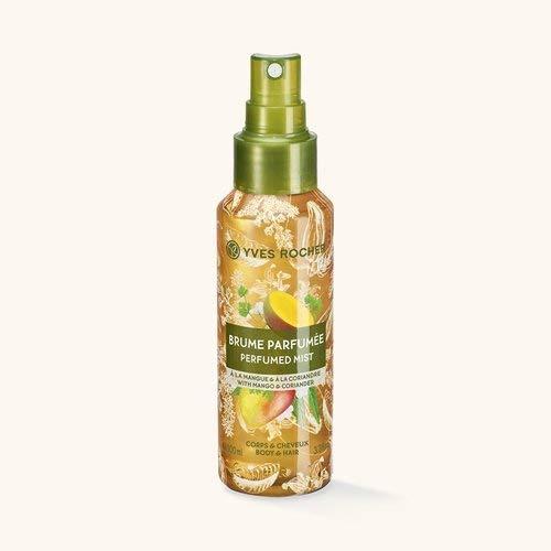 Yves Rocher LES PLAISIRS NATURE Duftspray Mango-Koriander, Erfrischungsspray für Körper & Haare, 1 x Pump-Flacon 100 ml