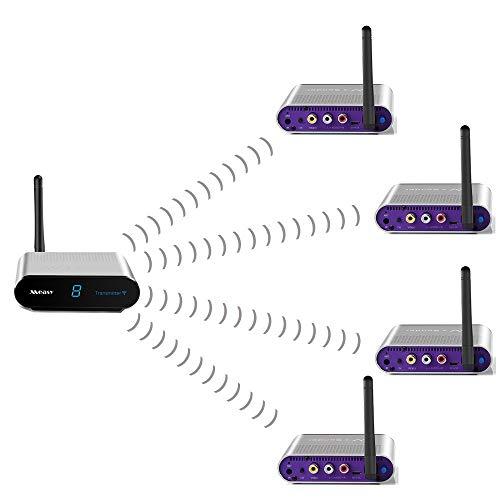 measy AV240-4(1x4) Trasmettitore e ricevitore AV senza fili a 8 canali, compatibile con DVD, DVR, telecamera CCD, IPTV, decoder Satellite e altri dispositivi di uscita AV