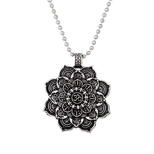 BLUEXIAO Collar con colgante de mandala de loto tibetano budista, joyería de meditación, amuleto de la suerte, regalo único y elegante para ella