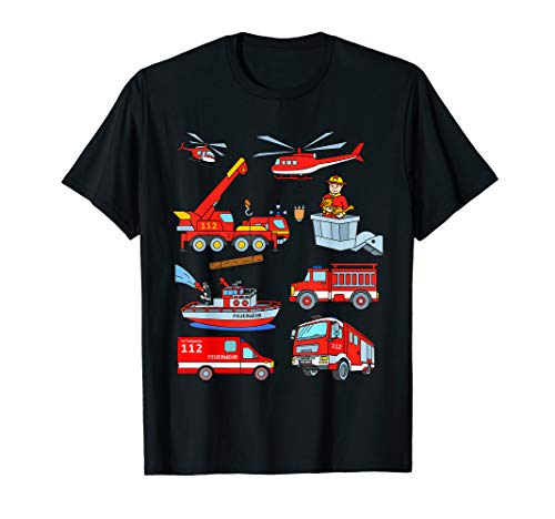 Feuerwehr TShirt Kinder mit Löschzug Löschboot Feuerwehrmann