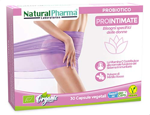 Natural Pharma Labs. Probiotici Biologici ProIntimate. Cura Intima Femminile. Mirtillo Rosso + Vitamina C. Capsule Smart Biocaps®. Probiotici Naturali. Senza Glutine, Senza Lattosio, Vegani.