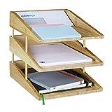 Relaxdays Dokumentenablage Bambus, 3 Ablagefächer, Stapelbar, DIN A4 Ablage für Büro & Schreibtisch, Briefablage, Natur