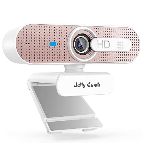Jelly Comb 1080P HD Webcam mit Objektivdeckel, Streaming Webkamera mit Autofokus/Stereo Mikrofon für Computer, Skype, Video Chat und Aufnahme, Weiß und Rosagold