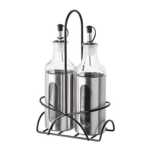 LOLAhome Aceitera y vinagrera de Acero Inoxidable Modernas para Cocina (Pack Sencillo, Plata)