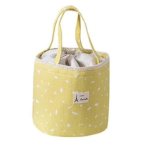 Lunch Taschen - 2019 Neu Kleine Frische Muster Tragbaren Lunch Taschen - Lunchpaket Isolierte Aufbewahrungstasche Thermische Lebensmittel Tragbare Reise Bento Box - 18 x 17 x 30cm (Gelb)