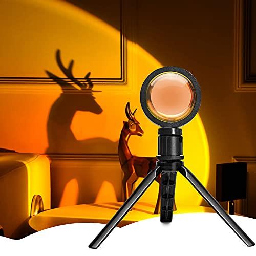 Grarg Sunset Lamp, Lampe Coucher de Soleil avec trépied - Rotation à 360° USB Lumière Coucher de Soleil,Sunset Projection Lamp LED Halo Lampe Pour Décoration Chambre Salon Mariage Anniversaire Fête