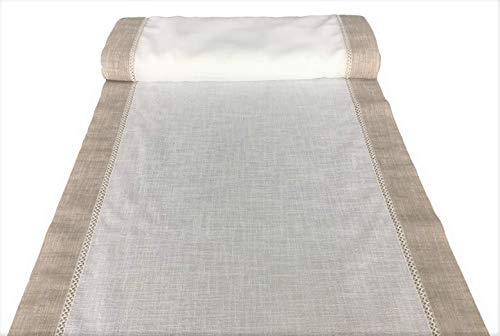 Tissu pour Rideau vitrage Voilages Panneau prix au mètre-Tissu 100% Polyester Effet Lin Blanc -Largeur de cm 35 à 90 cm 65 Blanc/taupe beige foncé