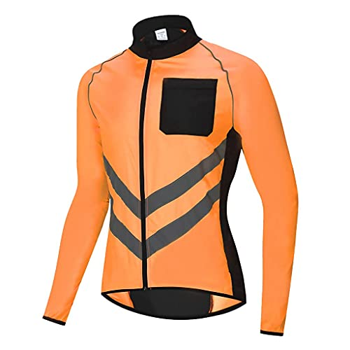 SZTC Cycling Jacket Mens Women Waterproof Reflective Running Jacket Cycle Jacket Breathable High Visibility MTB Jersey Rain Coat for Outdoor MTB Cycling Running