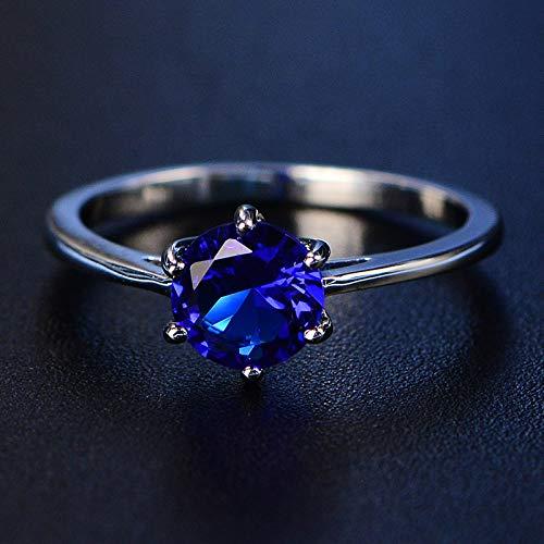DGSDFGAH Anillo Mujer Anillo De Dedo De Diamantes De Imitación Redondo Azul Hombres Y Mujeres, Boda Y Compromiso Exquisito, 7