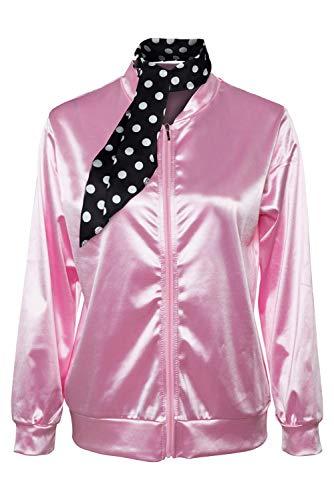 Damen-Kostüm 50er Jahre Sandy Satin Jacke mit Halstuch T Bird Danny Halloween Kostüm Kostüm Kostüm Gr. XS, Rose