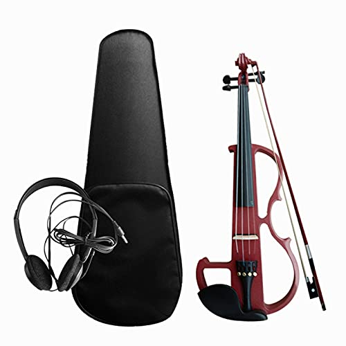 KEPOHK Kit de violín electroacústico 4/4, violín eléctrico silencioso de madera maciza, estilo de violín, cuerpo de tilo, ébano, clavijas de diapasón, violín Borgoña