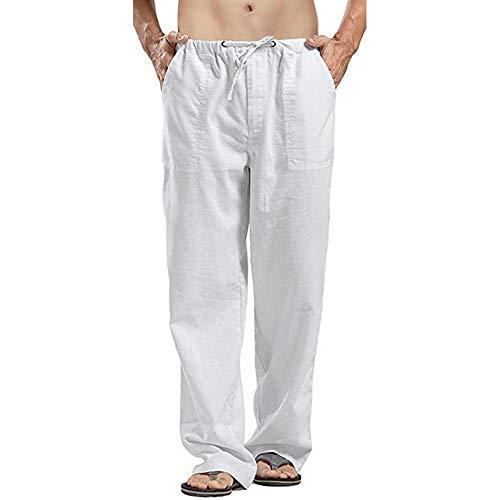 Hombre Pantalones Lino Estilo Libre Ocio Cordón de la Cintura Sueltos Pantalones LargosTranspirable Ropa Hombre Verano Casual (Blanco, 2XL)