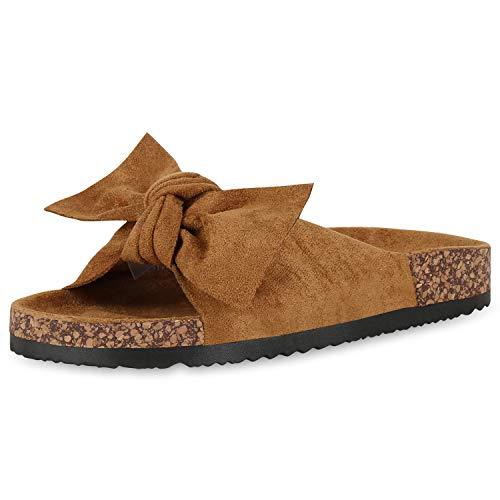 SCARPE VITA Damen Sandalen Pantoletten Wildleder-Optik Schleife Schlappen Sommer Schuhe Korkoptik Hausschuhe Flats 176974 Hellbraun Schleifen 37