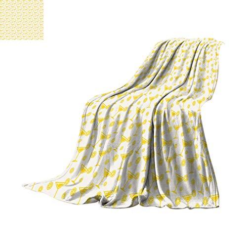 Mantas geométricas personalizadas, bebidas polinesias con patrón de cócteles de verano de limón, para beber, divertirse y suaves, ligeras, para sofá cama, 60 x 39 pulgadas, amarillo y blanco