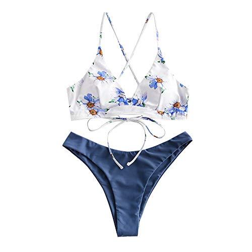ZAFUL zweiteilig Bikini-Set, Blumenmuster Frauen drucken Push-Up gepolsterter BH Beach Bikini Set Triangle Badehose (Seidenblau, L)