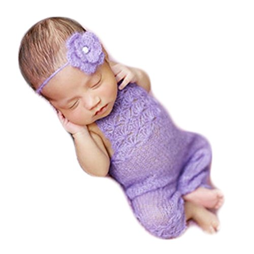 Baby Photography Props Boy Girl Photo Shoot Outfits Newborn Crochet Costume Infant Knitted Clothes Mohair Headdress Rompers (Purple)