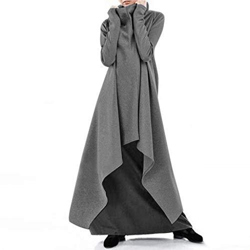 LXDWJ Turtleneck Sudaderas Vestido Otoño Hodded con Sudaderas Irregulares Vestidos Mujeres Casual Sólido Manga Larga Larga (Color : B, Size : XXXXX-Large)