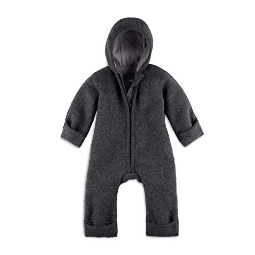 Halfen Walkanzug Baby (100% Made in Germany) - Walk Baby Overall, Babyoverall aus Walkwolle (Bio Natur Schurwolle), Walkoverall mit Kapuze, Farbe: Schiefer,50/56