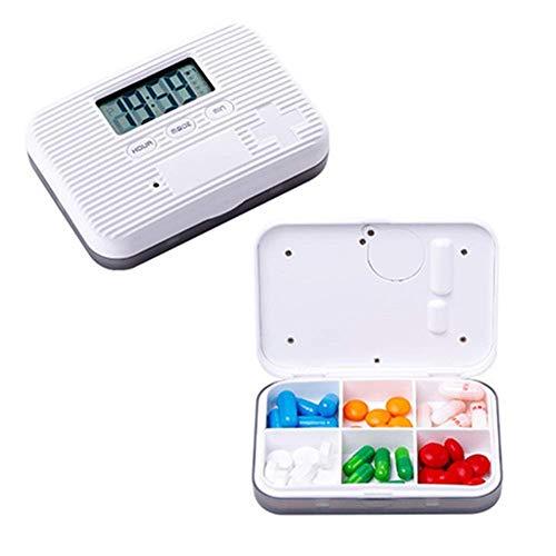 ETDWA Portable 6 Girds Pill Organizer Case Medicine Storage Dispenser Digital Alarm Reminders Tablet Pill Box Medical Tools Holder for Old Man (Color : Grey)