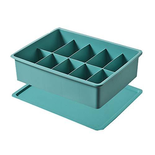 収納ボックス 下着 靴下 小物収納 スペース節約 整理 収納ケース収納ケース 収納ボックス 整理 防湿防カビ 収納袜子分格可叠加收纳箱 内裤整理盒10個仕切り-濃い緑色(蓋付き)